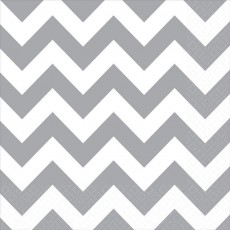 Chevron Design Frosty White  Lunch Napkins