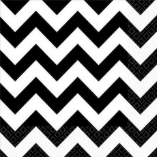 Chevron Design Jet Black  Lunch Napkins