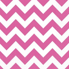 Bright Pink Chevron Design Lunch Napkins 33cm x 33cm Pack of 16