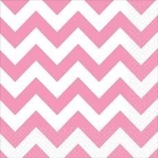 New Pink Chevron Design Lunch Napkins 33cm x 33cm Pack of 16