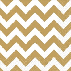 Chevron Design Gold  Lunch Napkins
