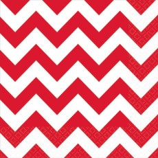 Chevron Design Apple Red  Lunch Napkins