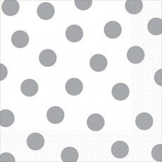 Dots Frosty White with Silver Lunch Napkins