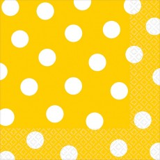 Sunshine Yellow with White Dots Lunch Napkins 33cm x 33cm Pack of 16