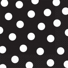 Jet Black with White Dots Lunch Napkins 33cm x 33cm Pack of 16