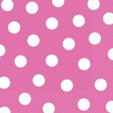 Bright Pink with White Dots Lunch Napkins 33cm x 33cm Pack of 16