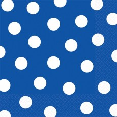 Bright Royal Blue with White Dots Lunch Napkins 33cm x 33cm Pack of 16