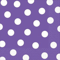 New Purple with White Dots Lunch Napkins 33cm x 33cm Pack of 16