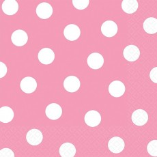 New Pink with White Dots Lunch Napkins 33cm x 33cm Pack of 16