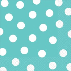 Robin's Egg Blue with White Dots Lunch Napkins 33cm x 33cm Pack of 16