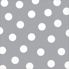 Silver with White Dots Lunch Napkins 33cm x 33cm Pack of 16