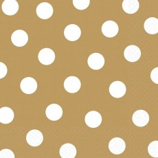 Gold with White Dots Lunch Napkins 33cm x 33cm Pack of 16