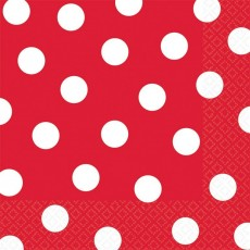 Apple Red with White Dots Lunch Napkins 33cm x 33cm Pack of 16