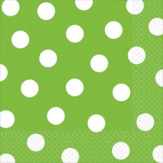 Kiwi Green with White Dots Lunch Napkins 33cm x 33cm Pack of 16