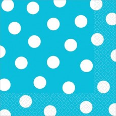 Caribbean Blue with White Dots Lunch Napkins 33cm x 33cm Pack of 16