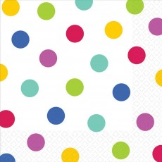 Dots White with Rainbow Lunch Napkins