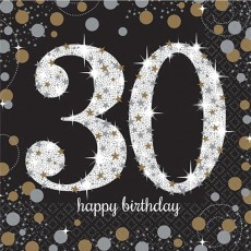30th Birthday Black, Gold & Silver Sparkling Lunch Napkins