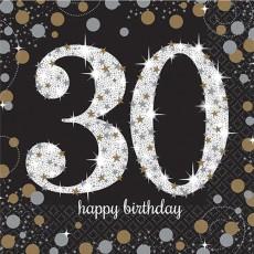 30th Birthday Sparkling Celebration Lunch Napkins 33cm x 33cm Pack of 16