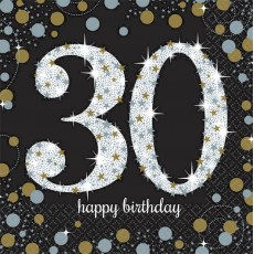 30th Birthday Sparkling Celebration Lunch Napkins Pack of 16