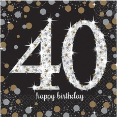 40th Birthday Black, Gold & Silver Sparkling Lunch Napkins