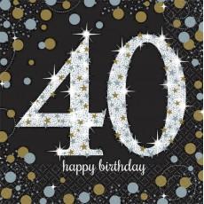40th Birthday Sparkling Celebration Lunch Napkins