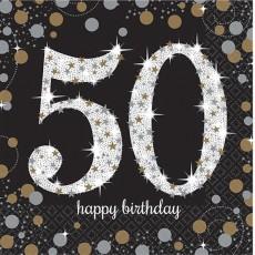 50th Birthday Sparkling Celebration Lunch Napkins 33cm x 33cm Pack of 16