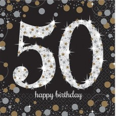 50th Birthday Sparkling Celebration Lunch Napkins