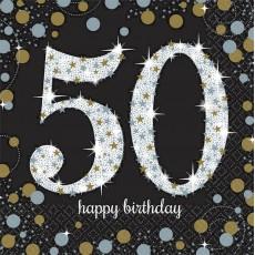 50th Birthday Sparkling Celebration Lunch Napkins