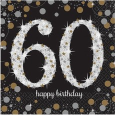 60th Birthday Black, Gold & Silver Sparkling Lunch Napkins