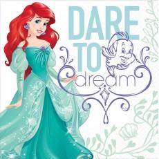 The Little Mermaid Ariel Dream Big Dare to Dream Lunch Napkins 33cm x 33cm Pack of 16