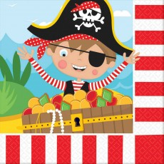 Pirate's Treasure Little Pirate Lunch Napkins 33cm x 33cm Pack of 16