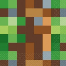 Minecraft TNT Lunch Napkins 33cm x 33cm Pack of 16