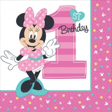 Minnie Mouse 1st Birthday Fun To Be One Lunch Napkins 33cm x 33cm Pack of 16