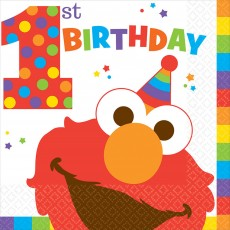 Elmo Turns One Lunch Napkins 33cm x 33cm Pack of 16