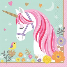 Magical Unicorn Lunch Napkins 33cm x 33cm Pack of 16
