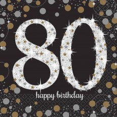 80th Birthday Party Supplies - Lunch Napkins Sparkling Celebration