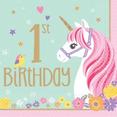 Magical Unicorn 1st Birthday Lunch Napkins Pack of 16