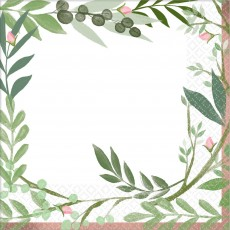 Bridal Shower Love and Leaves Lunch Napkins 33cm x 33cm Pack of 16