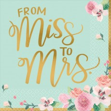 Bridal Shower Mint To Be From Miss to Mrs Lunch Napkins 33cm x 33cm Pack of 16