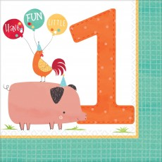 Barnyard Party Supplies - Lunch Napkins 1st