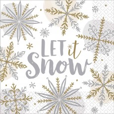 Christmas Party Supplies - Lunch Napkins Shining Snowflakes