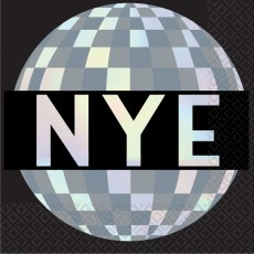 Disco Ball Drop Happy New Year Lunch Napkins 33cm x 33cm Pack of 16