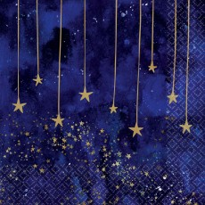 Midnight New Year's Eve Stars Lunch Napkins 33cm x 33cm Pack of 16