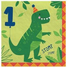 Dinosaur Party Supplies - Lunch Napkins Dino-Mite 1st Birthday