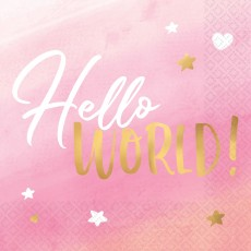 Oh Baby Girl Hot Stamped Hello World! Oh Baby! Lunch Napkins Pack of 16