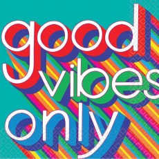 Disco & 70's Good Vibes good vibes only Lunch Napkins Pack of 16