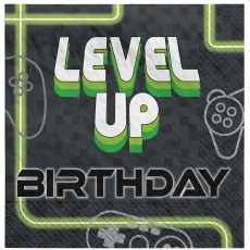 Level Up Gaming Party Supplies - Lunch Napkins