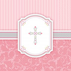 First Communion Pink Blessings Lunch Napkins