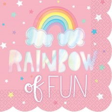 Magical Rainbow Scalloped Foil Hot Stamped Rainbow of Fun Lunch Napkins Pack of 16
