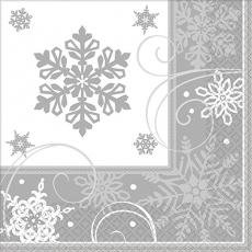 Christmas Silver & White Sparkling Snowflakes Dinner Napkins